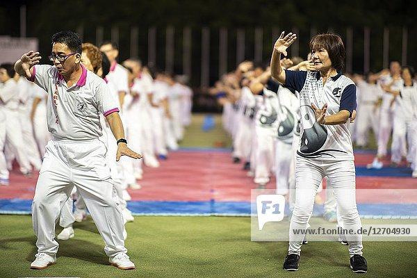 Martial arts display conjunction with Kuching Festival at Hockey Stadium  Kuching  Sarawak  Malaysia