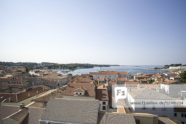 POREC CROATIA ON AUGUST 20  2018: Panorama from the tower of the Euphrasian Basilica UNESCO heritage site in Porec old town.