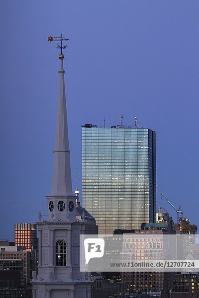 Park Street Church steeple and skyscrapers early in the morning  Boston  Massachusetts  United States.