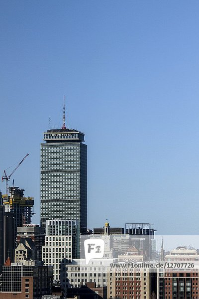 The Prudential Center and other buildings in downtown Boston  Massachusetts  United States.