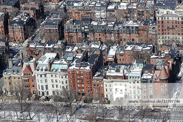 An aerial view of Back Bay  Boston  Massachusetts  United States.