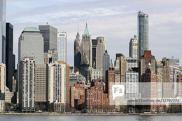 Manhattan buildings viewed from the Hudson River.