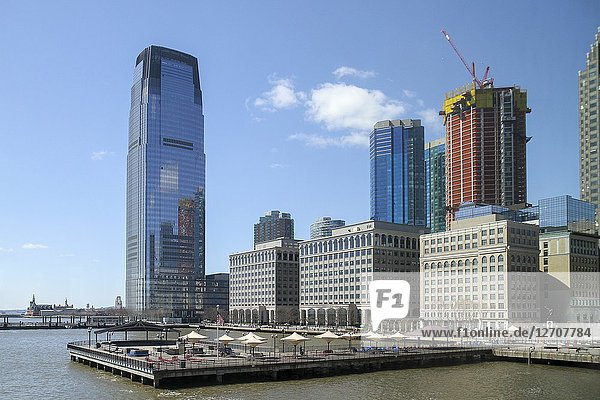 30 Hudson Street  formerly the Goldman Sachs Tower  J Owen Grundy Park  and other structures on the Hudson River in Jersey City  New Jersey.