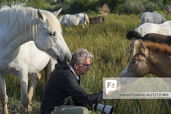 Photo tour members with Camargue horses in the Camargue in southern France.