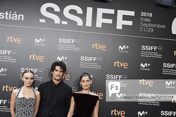Laetitia Casta  Lily-Rose Melody Depp  Louis Garrel attended 'A Faithful Man' Premiere during the 66th San Sebastian International Film Festival at Kursaal Palace on September 23  2018 in San Sebastian  Spain