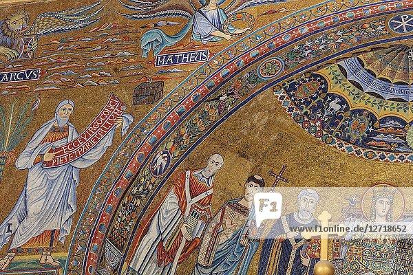 Mosaics (12th century)  Church of Our Lady in Trastevere interior  Basilica of Santa Maria in Trastevere  Rome  Lazio  Italy.