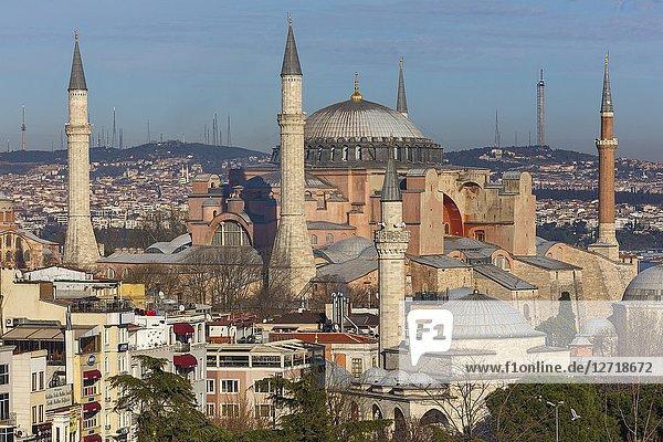 Cityscape with Hagia Sophia  Ayasofya  Istanbul  Turkey.