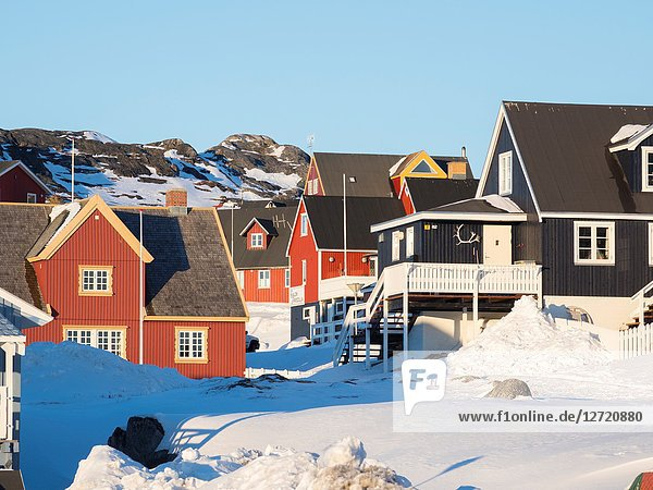 The old town  Nuuk  the capital of Greenland. America  North America  Greenland.