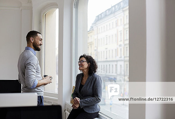 Smiling businessman discussing with female professional at office