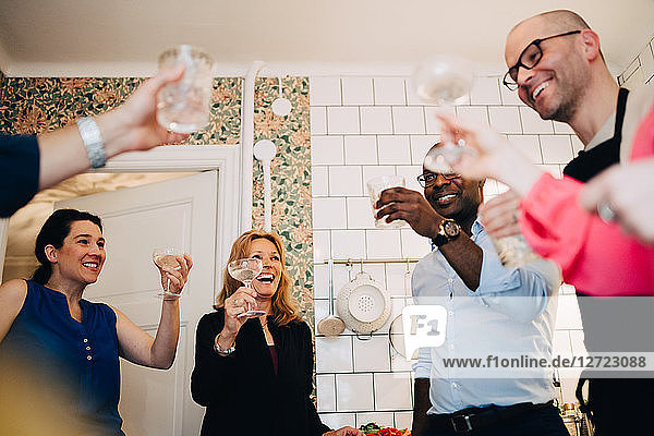 Happy mature friends toasting drinks in party at home