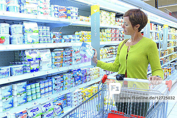 France  woman in a supermarket.