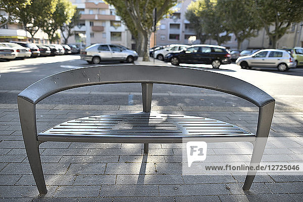 France   Rhone Alpes   Drome   Tain l'Hermitage  a bench in the square of Tain