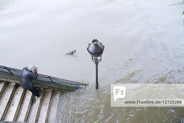 France  Paris  Seine river flood (2016 June 2nd)