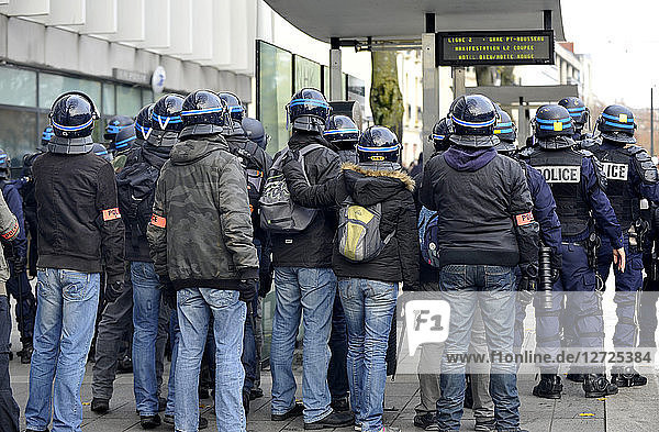 France  Nantes city  riots during demonstration against police brutality following the death of a young French activist  French police in action.