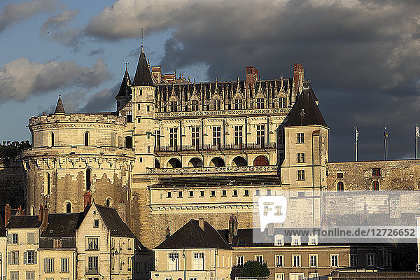France  Amboise castle with the ramparts and the tower