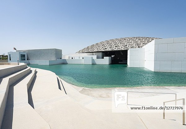 Exterior view of the Louvre Abu Dhabi at Saadiyat Island Cultural District in Abu Dhabi  UAE. Architect Jean Nouvel.