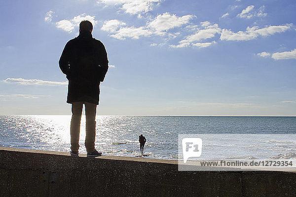 France  North-Western France  Brittany  Prefailles  Pointe Saint-Gildas  Cote de Jade  couple at the sea in April