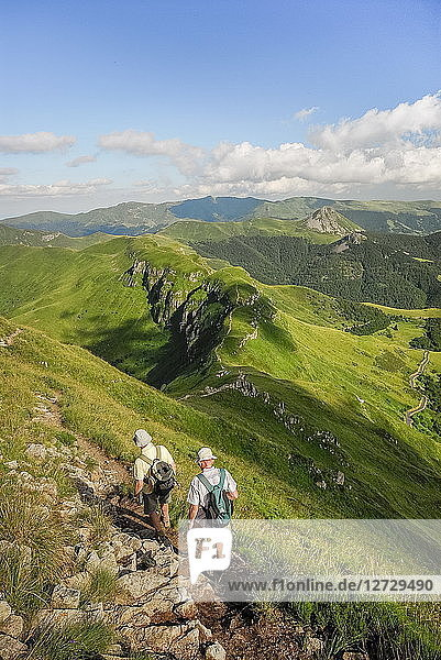 France  South-Western France  mountains of the Cantal  hiking on the Puy Mary