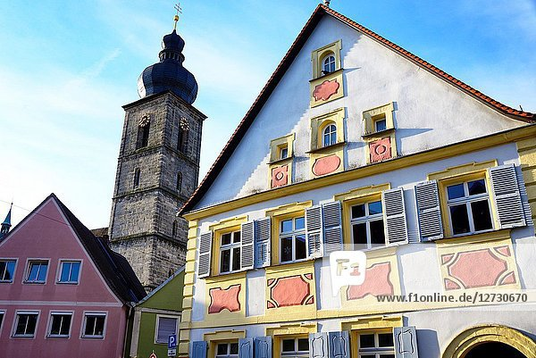 St. Martin church tower seen from Sattlertorstrasse  historic part of Forchheim  Forchheim  Franconian Switzerland  Upper Franconia  Franconia  Bavaria  Germany  Europe