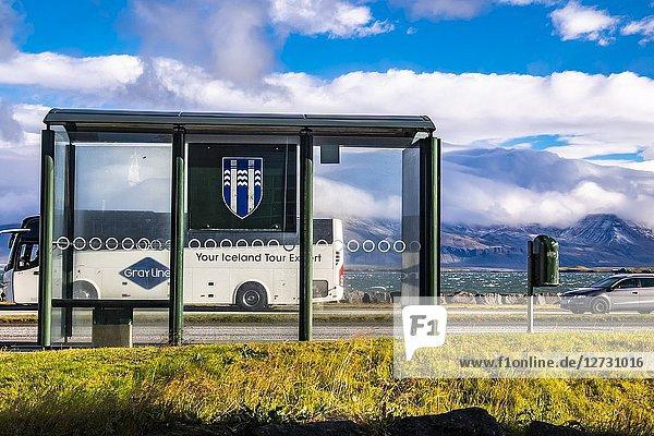 Bus stop in Reykjavic  Iceland.