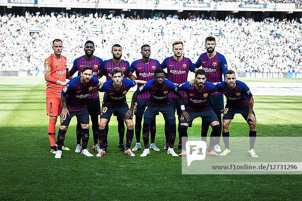 Messi  Roberto  Pique  Rakitic  Ter Stegen  Semedo  Suarez  Dembele  Rafinha  Jordi Alba  Umtiti  Barcelona players pose for the press before Spanish League match between Real Sociedad and Barcelona