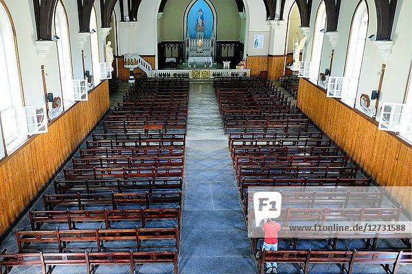 Interior of Notre Dame des Anges Church of Mahébourg  Mahébourg  Grand Port district  southeastern coast of Mauritius  Mauritius  Mascarenhas  Mascarene Islands  Mascarene  Mascarenhas Archipelago  Africa