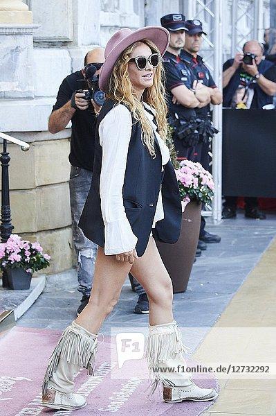 Paulina Rubio is seen arriving at Maria Cristina Hotel during 66th San Sebastian Film Festival on September 28  2018 in San Sebastian  Spain