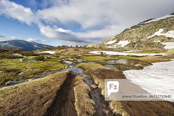 Thaw on spring time at National Park of Penialara Lagoons. Sierra de Guadarrama. Madrid. Spain.