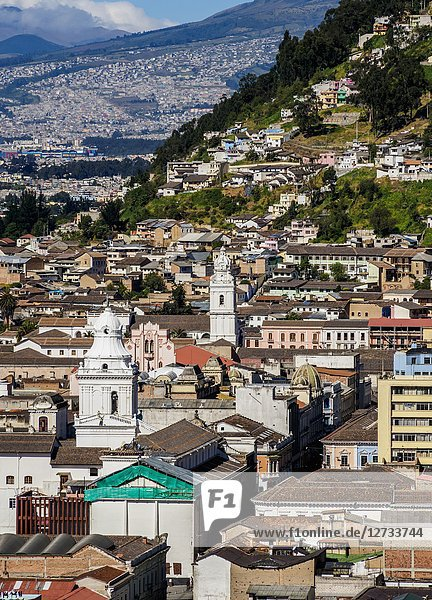 Old Town  elevated view  Quito  Pichincha Province  Ecuador.