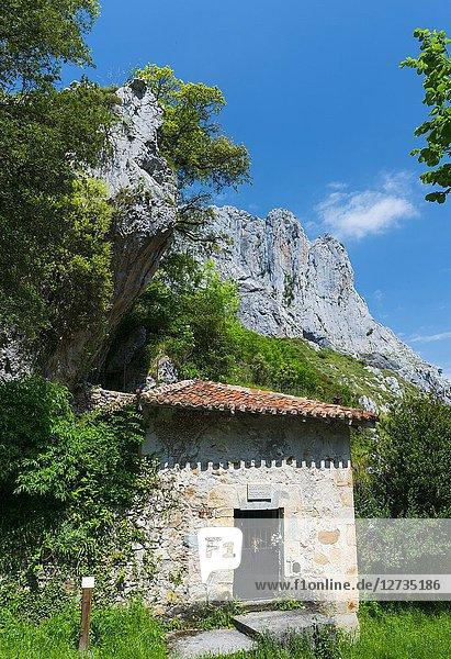 Santo Cristo church  Atxarte canyon  Mendiola neighborhood  Urkiola Natural Park  Atxarte valley  Bizkaia  Basque Country  Spain  Europe.