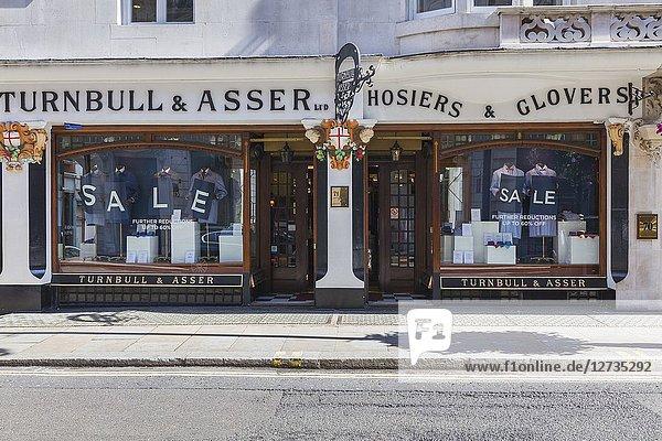 Turnbull & Asser fashion shop  Jermyn Street  Piccadilly  London  England  UK.