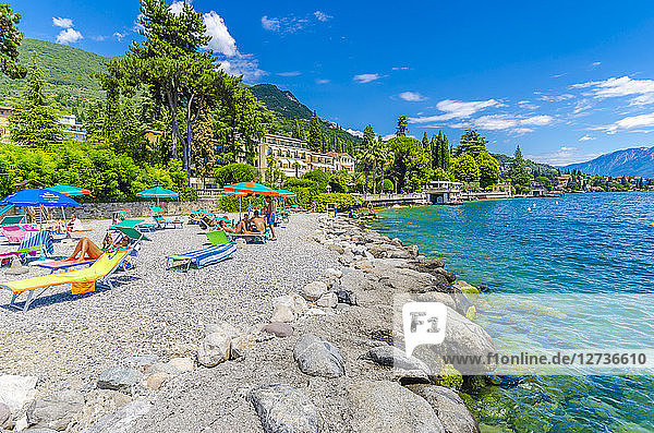Italy  Lombardy  Gardone Riviera  Lake Garda  beach