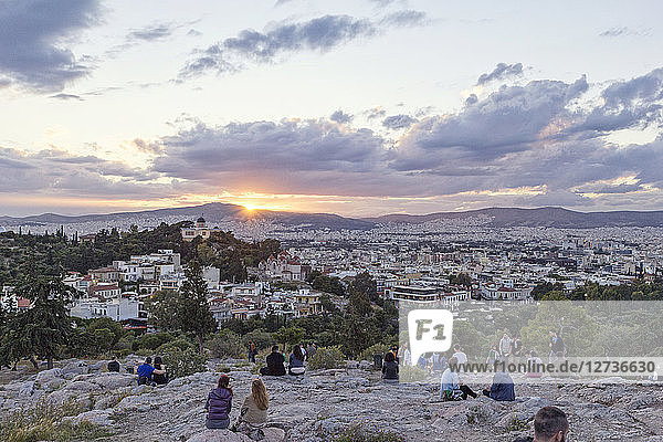 Greece  Athens  View from Areopagus with people at sunset