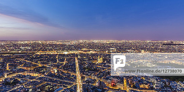 France  Paris  Illuminated city at night