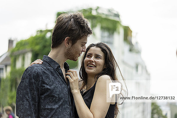 France  Paris  happy young couple in love in the district Montmartre
