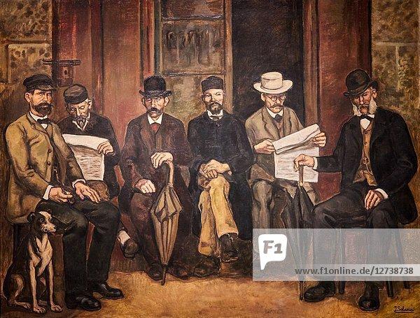 'Gathering at the Apothecary's House'  c. 1934  José Gutiérrez Solana  National Museum of Catalan Art  Museu Nacional d Art de Catalunya  MNAC  Barcelona  Spain  Europe