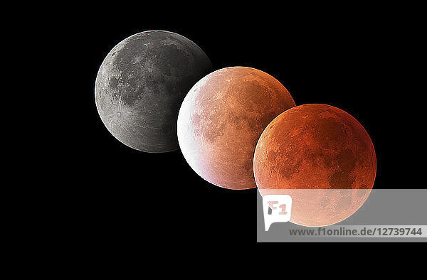 Various phases of a total lunar eclipse  blood moon  astrophotography