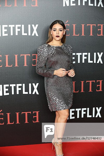Actress DANNA PAOLA attends 'Elite' premiere at Reina Sofia Museum. Premiere of the Élite series  which premieres Netflix -it is its second Spanish original series- this Friday  October 5  was directed by Ramón Salazar and Dani de la Orden on Oct 2  2018 in Madrid  Spain
