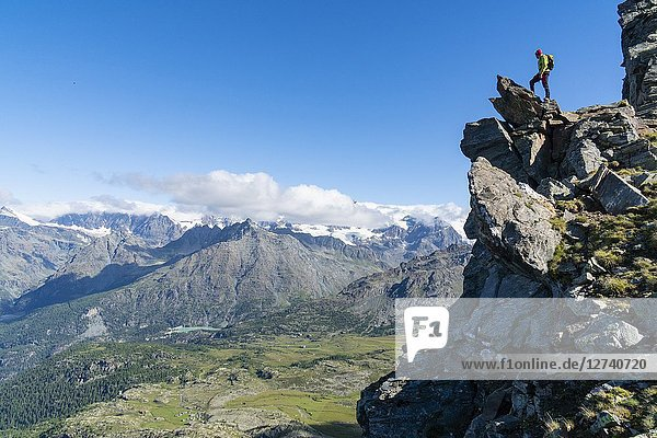 Summer hiking in Valtellina's mountains. Chiesa in Valmalenco  Sondrio district  Lombardy  Italy.