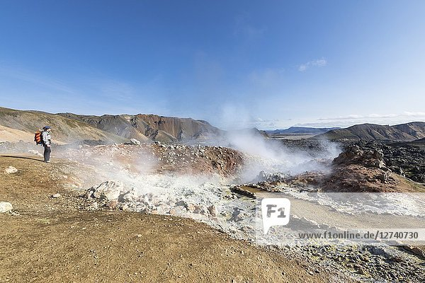 A fumarole under the Brennisteinsalda mountain  Laugahraun lava field (Landmannalaugar  Fjallabak Nature Reserve  Highlands  Southern Region  Iceland  Europe).