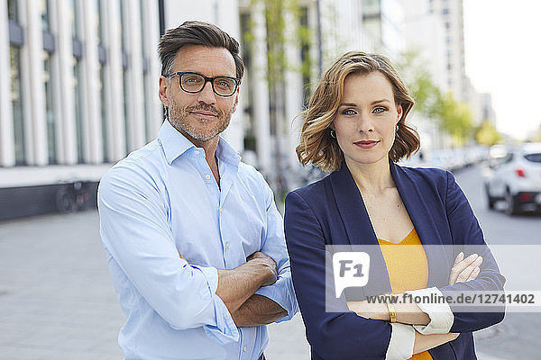 Portrait of two business people