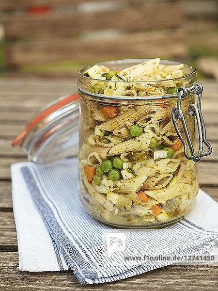 Jar with vegan pasta salad Jar with vegan pasta salad