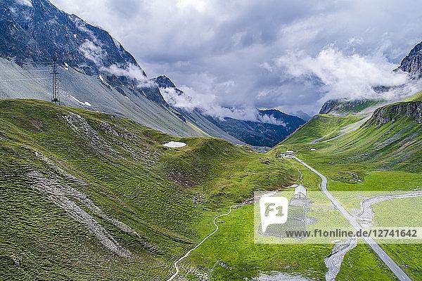 Switzerland  Graubuenden Canton  Aerial view of Albula Pass