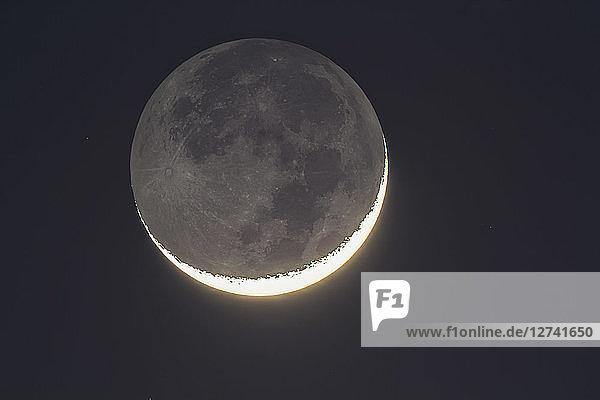 Germany  Hesse  Hochtaunuskreis  grey moon light and bright new moons crescent