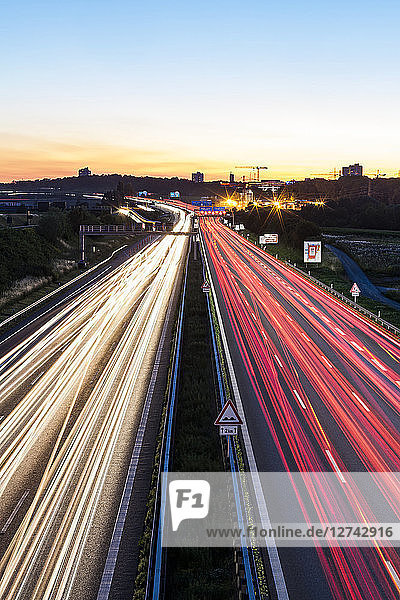Germany  Baden-Wuerttemberg  Stuttgart  Autobahn A8 in the evening  light trails