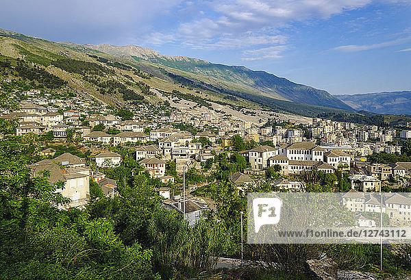 Albania  Gjirokaster  city view and Mali i Gjere mountains