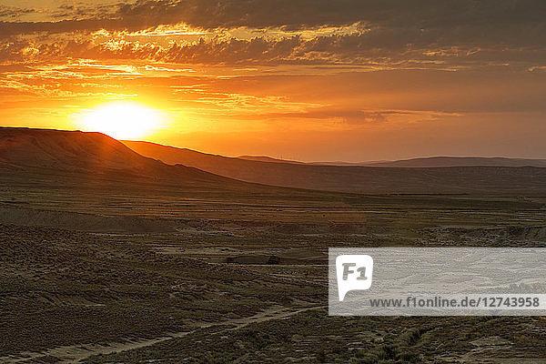 Azerbaijan  Gobustan  Gobustan National Park at sunrise