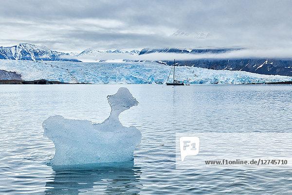 Eisscholle vor Gletscher, Ny-Alesund, Spitzbergen, Norwegen, Europa
