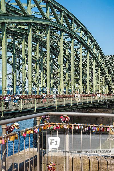 Liebesschlösser  Hohenzollernbrücke  Köln  Nordrhein-Westfalen  Deutschland  Europa