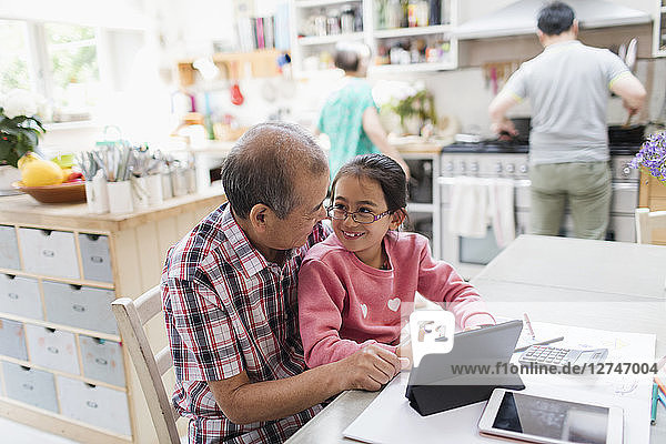 Grandfather and granddaughter using digital tablet at kitchen table